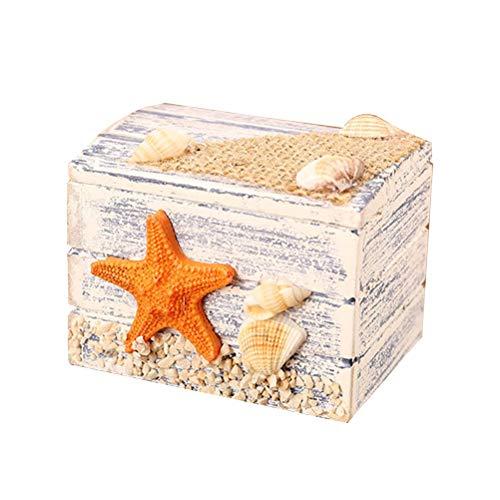 VOSAREA Holzbox Maritime Deko Holz Schmuckschatulle Kinder Schmuckkästchen Mädchen Schmuckkasten Aufbewahrungsbox für Hochzeit Schmuck (Seestern)