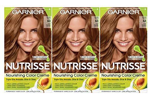Garnier, Nutrisse Nourishing Hair Color Creme Packaging May Vary, 63 Light Golden Brown (Brown Sugar), 3 Count