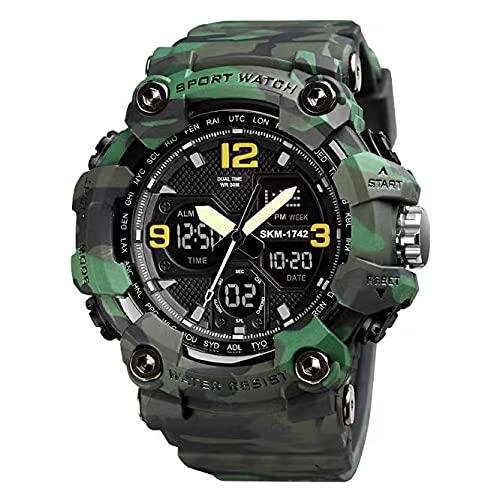 Reloj deportivo militar para hombre, reloj electrónico al aire libre, pantalla dual 50 m/164 pies resistente al agua, reloj analógico digital con retroiluminación para senderismo natación uso diario