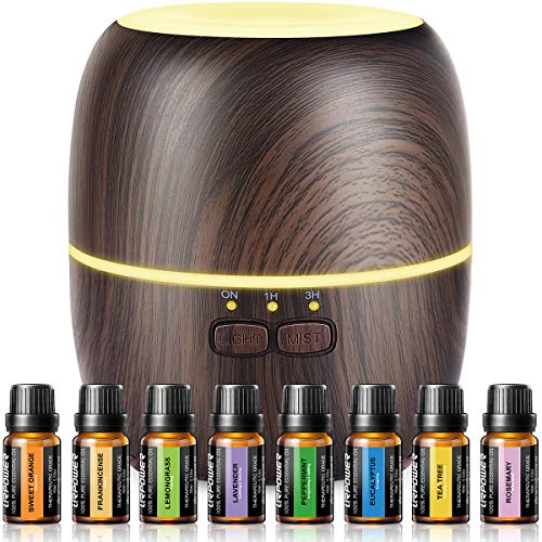 Urpower essential oil diffuser, 230ml diffusers for essential oils super quiet wood grain aromatherapy oil diffuser essential oils with adjustable mist mode oil diffuser essential oils for home yoga