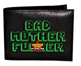 BMF Wallet Green Embroidery Black Leather