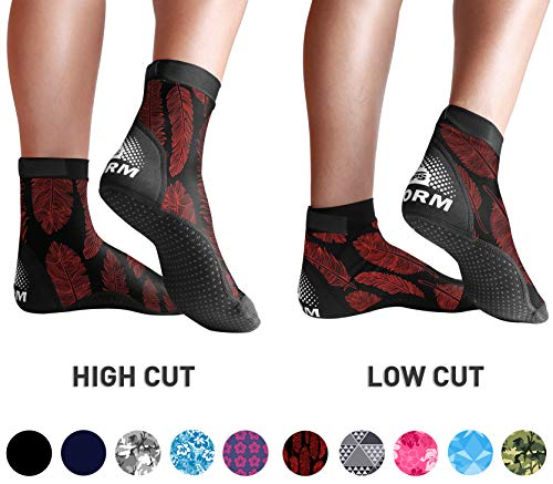 BPS 'Storm' Lycra Beach Socks - Socks for Outdoor Volleyball, Surfing, Dive Boots, Canoeing, Snorkeling, Beach Soccer - for Kids and Adults and Unisex - High Cut Socks (Red Feathers, Large)