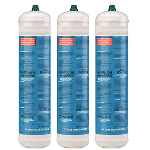 Bouteille oxygène 110 bar KEMPER Pack x 3 Connexion M10 Soudure bi-gaz Jetable 110 litres