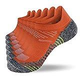 Fioboc Calcetines Deportivos 6 Pares para Hombres & Mujeres Calcetines de Tobillo Corte Bajo Deportivos Compresión Rendimiento Calcetines (Naranja, 35-38)