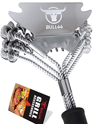 Bull44 BBQ Grillbürste 360° mit Schaber – Borstenfrei – ohne Borsten – aus Edelstahl – Langer Griff für sichere schnelle Grillreinigung - Grillzubehör