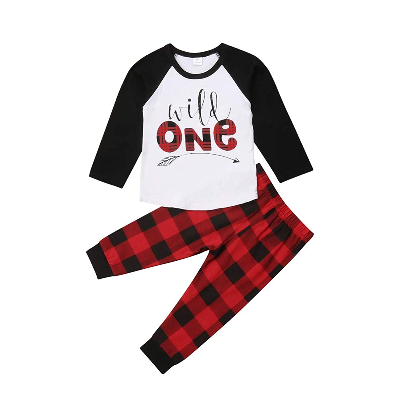 Christmas Infant Baby Boy Clothes Long Sleeve Letter Print Raglan Shirt+Plaid Pants 2Pcs Outfit Set
