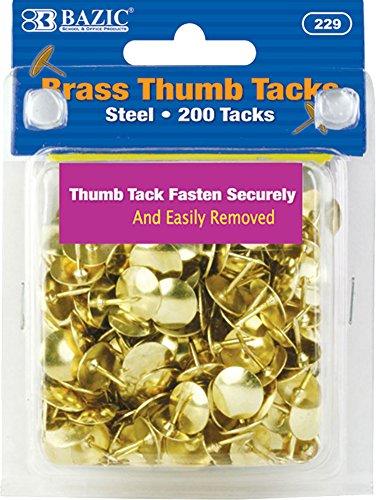 BAZIC Gold Thumb Tacks. 200 Push Pins for Crafts and Office Organization