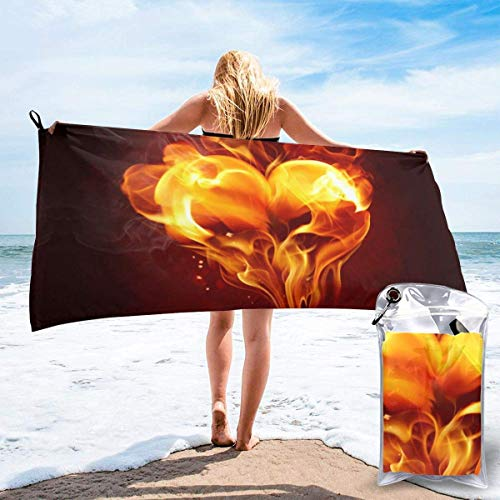 shenguang Sand Free Beach Towels, Microfiber Portable Compact Bath Towels, Fire Heart Quick Dry Super Lightweight Towel Blanket with A Carrying Bag