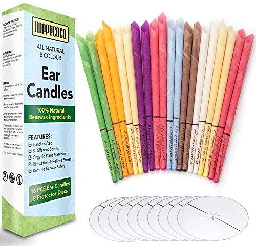 Ohrenkerzen 20 Stück (8 Farben), Natürliches Ohrkerzen zur Reinigung Blockierte Ohren,Duft Ohrkerze Bienenwachs mit 10 Stück Schutzscheiben