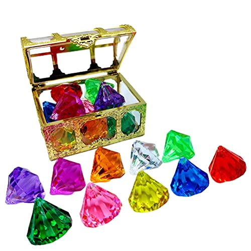 MAOBU Juego de gemas de diamantes de acrílico, juego de gemas piratas, 10 piezas de diamantes con caja de pirata del tesoro de buceo gema piscina juguete subacuático para niños