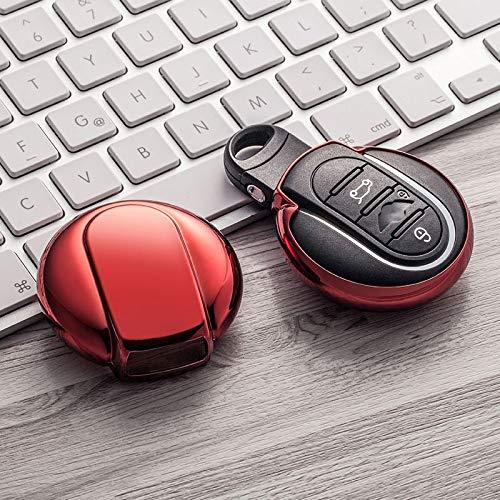 Color Nuevo Suave TPU Cubierta de la Caja de la Llave del Coche para BMW Mini Cooper S One JCW F54 F55 F56 F57 F60 Clubman Countryman Llavero Accesorios F-Rojo