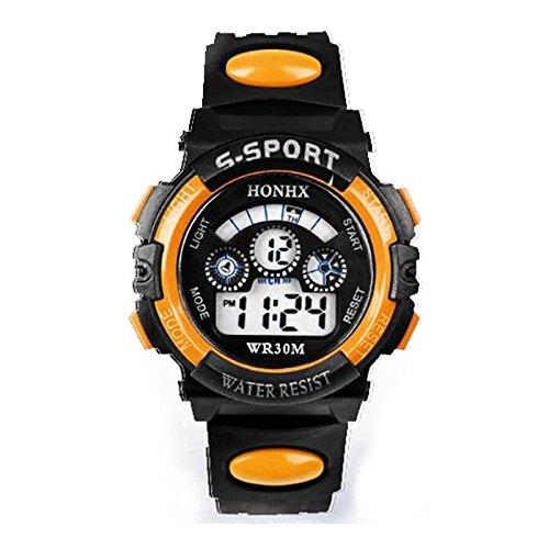 Anyutai Reloj para niños, reloj para niños, digital, deportivo, multifuncional, cronógrafo, LED, resistente al agua, calendario, analógico, para niños, con banda de silicona, color naranja