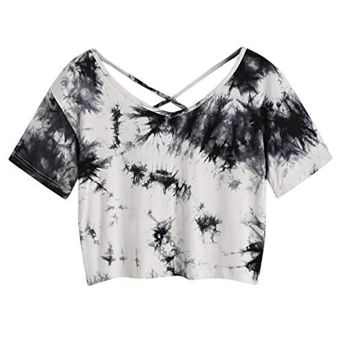 SweatyRocks Women's Tie Dye Print Crop Top T Shirt Long Sleeve (Large, Multicoloured)