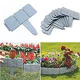 NEWIT Garden Plastic Fence Edging 20 pcs,Cobbled Stone Effect Garden & Lawn Edging and Landscape Border,for Garden Fence Flower Bed & Grass (Gray-20pcs)