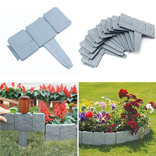 NEWIT Garden Plastic Fence Edging 40 pcs,Cobbled Stone Effect Garden & Lawn Edging and Landscape Border,for Garden Fence Flower Bed & Grass (Gray-40pcs)