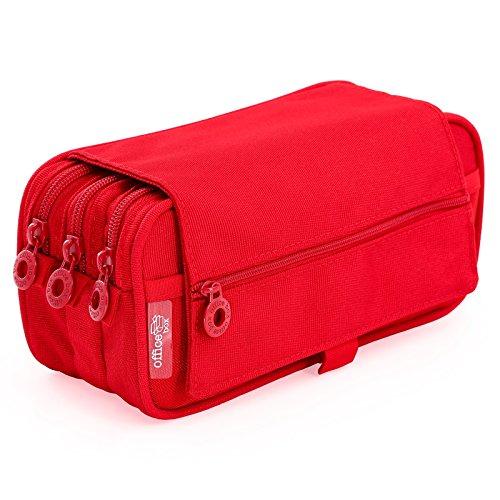 Portatodo Triple de Amplios Apartados Interiores con Cierre de Cremallera Individual (Rojo)