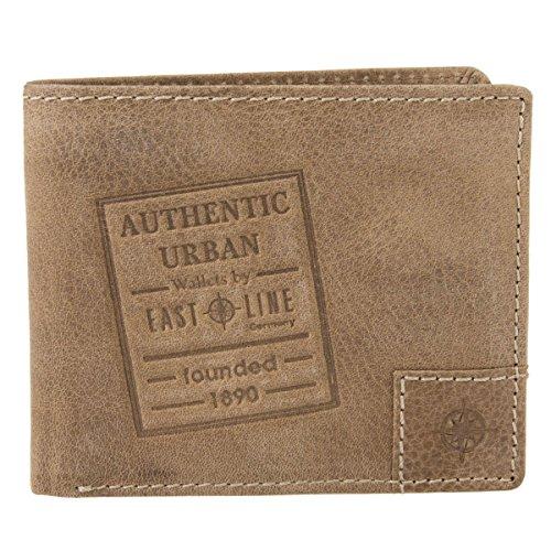 EASTLINE Germany Leder Geldbörse Portemonnaie Geldbeutel Brieftasche Portmonee Texas 10026, Farbe:Braun