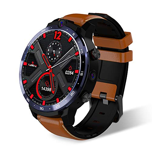 LEMFO LEM12 Reloj Inteligente Hombres Mujeres, IP67 Resistente Al Agua 500 W+800 W 4G Dual Cámara Reloj Inteligente GPS 3GB 32GB 1,6 Pulgadas Reloj Inteligente Apoyo Español (Brown)