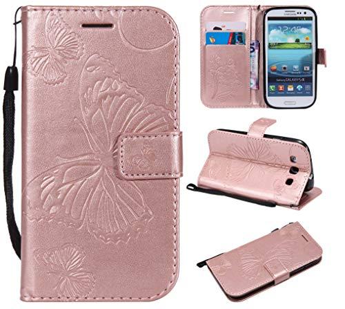 THRION Samsung Galaxy S3 Hülle, PU Schmetterling Brieftaschenetui mit magnetischer Handschlaufe und Ständerhalterung für Samsung Galaxy S3, Rosa Gold