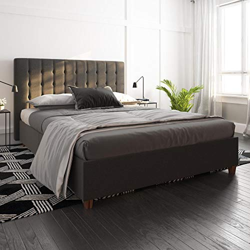 DHP Emily Upholstered Linen Platform Bed with Wooden Slat Support, Tufted Headboard, Full Size - Grey