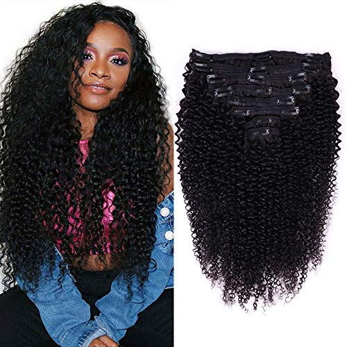 Kandice Kinky Curly Clip in Hair Extensions Human HairFor Black Women 8A Brazilian Remy Hair 3C 4A Kinky Curly Clip in Hair Extensions Natural Black(#1B),8Pcs 18Clips, 120G/4.2oz (14 Inch)