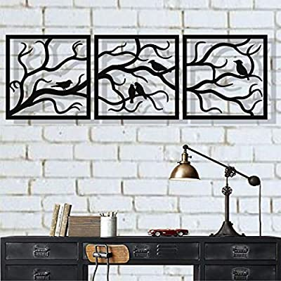 DEKADRON Metal Wall Art, Birds on Branch 3 Pieces, Metal Tree Wall Art, Tree Sign, Metal Wall Decor, Interior and Outdoor Decoration, 3 Panels Wall Hangings from DEKADRON