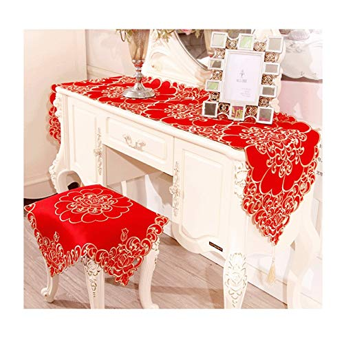 Rubyia Table Runner, Bordado Triangular con Borlas Camino Mesa Decoración Mesa Centro, Poliéster, 40 x 250 cm, Rojo