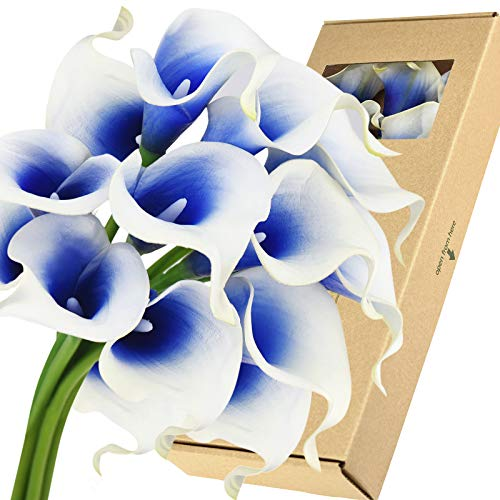FiveSeasonStuff Real Touch Calla Lily Artificial Flowers Wedding Bridal Bouquet | Floral Arrangements | 15 Calla Lilies (Silk White & Abyss Blue)