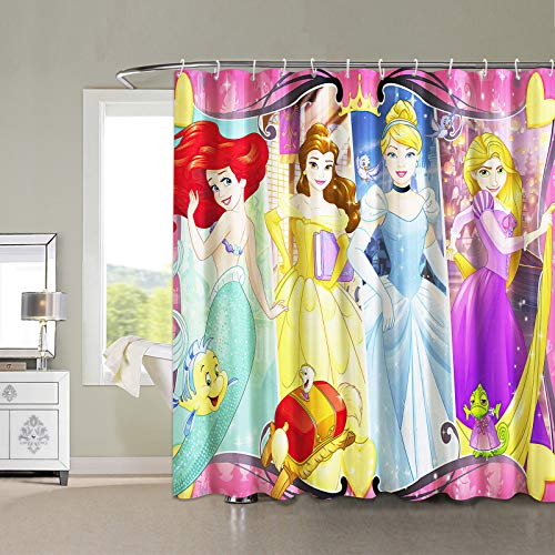 Mermaid Shower Curtain Dis_ney Princess Shower Curtain Anime Merchandise Fabric for Bathroom with Hooks 72x72in