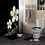 Singingin Shower Curtain Set with Bathroom Rugs and Mats White Plumeria Black Background Bathroom Rugs Set 4 Piece,Non-Slip Rugs,Toilet Lid Cover and Bath Mat,Waterproof Shower Curtain for Tub