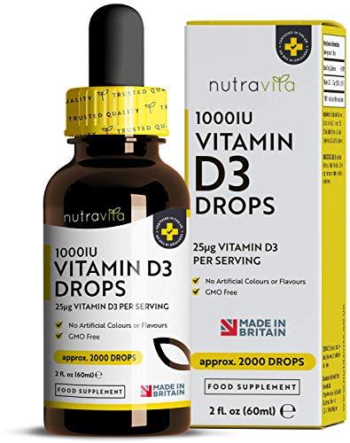Vitamine D *10000 UI pour 10 Gouttes* – Dosage Flexible jusqu'à 2000 Gouttes de Vitamine D3 1000 UI par Flacon – Cholécalciférol pour des os et un Système Immunitaire en Bonne Santé