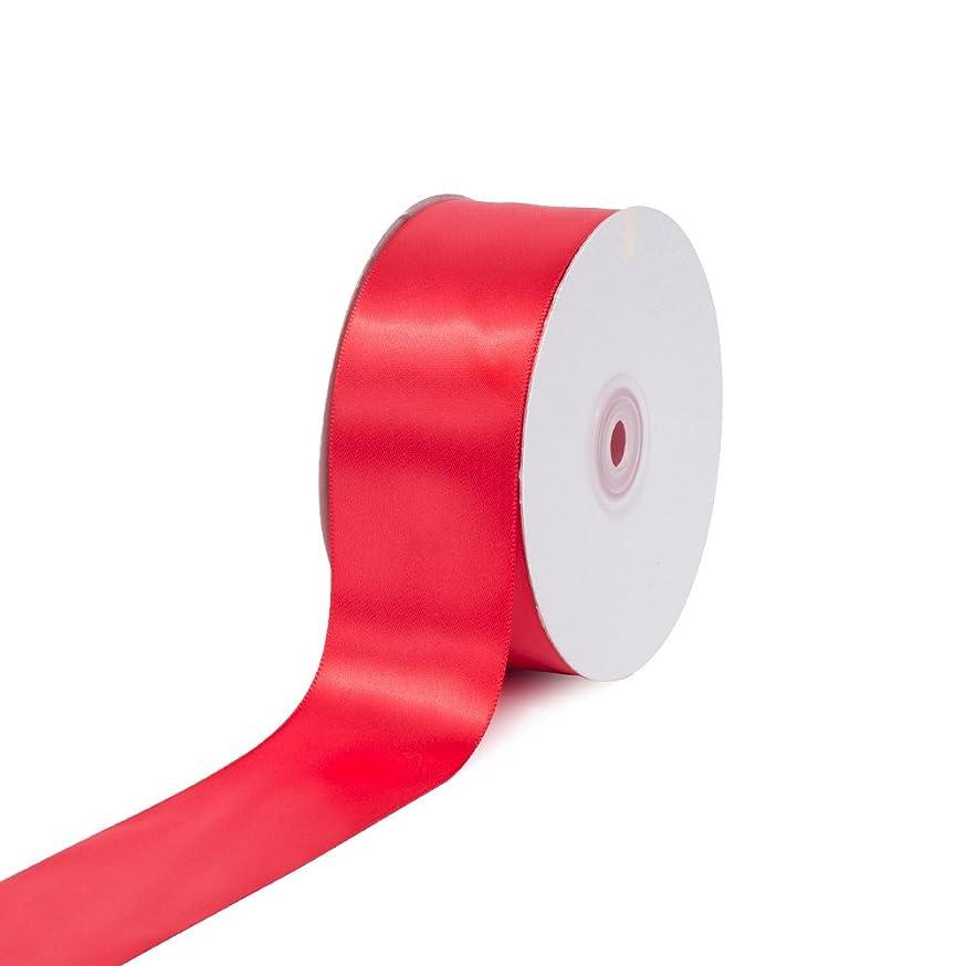 Creative Ideas 2-Inch Single Face Satin Ribbon, 50 Yards, Red