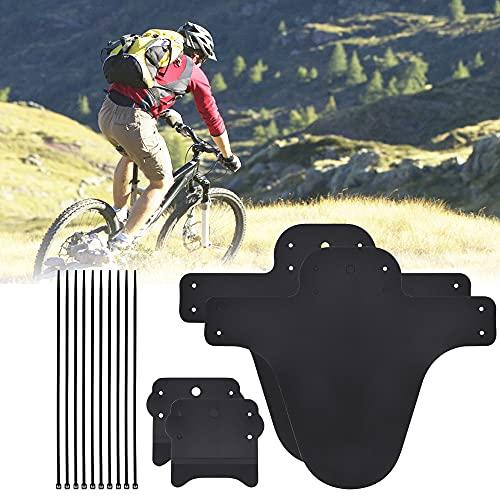 FIGFYOU Protector de barro de fibra de carbono para MTB con 8 bridas de cables para bicicleta fija, guardabarros para bicicleta MTB para bicicleta delantera y trasera