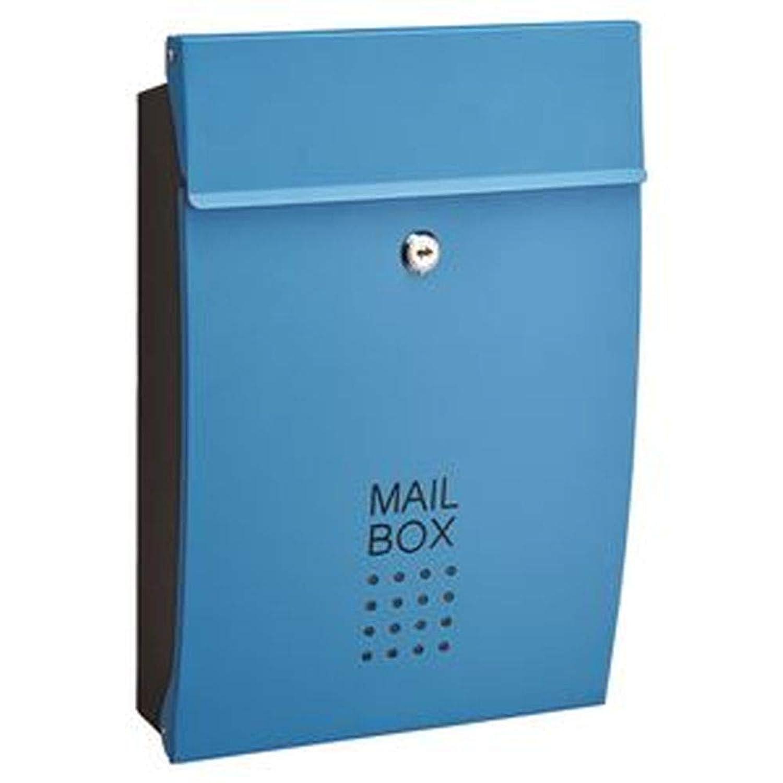 郵便受け/メールボックス?-ブルー-?幅260mm?重さ1.8kg?鍵×2本付き?スチール製?-玄関?エントランス-