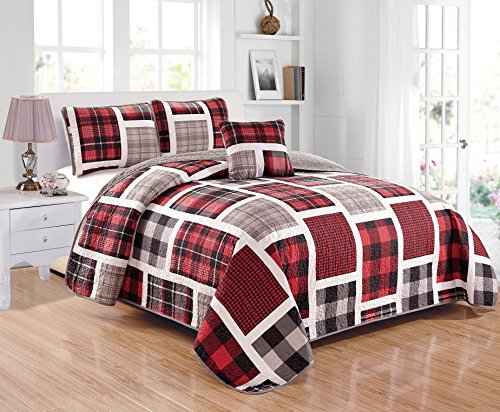 Linen Plus Quilted Bedspread Set for Teen Boys Patchwork Plaid Red Grey Black White New (Twin)