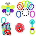Sassy Baby's First Developmental Gift Set - Includes Peek-a-Boo Soft Book, Water-Filled Teether, 9 Piece Ring O' Links, Squish & Rattle Ball, and Peek-a-Boo Beads Rattle - Ages 0+ (80764) from Sassy Baby, Inc.