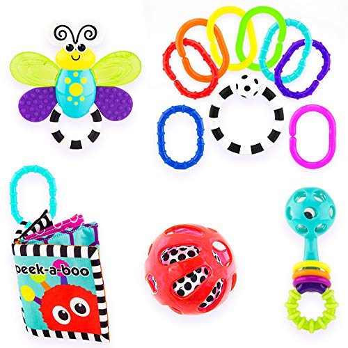 Sassy Baby's First Developmental Gift Set - Includes Peek-a-Boo Soft Book, Water-Filled Teether, 9 Piece Ring O' Links, Squish & Rattle Ball, and Peek-a-Boo Beads Rattle - Ages 0+ (80764)