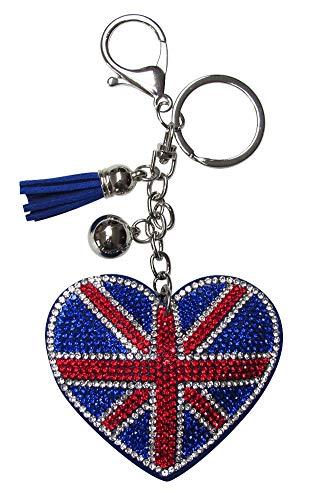 Sleutelhanger, sieraad tas hart vlag UK Verenigd Koninkrijk