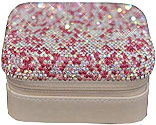 Bestbling Luxury Crystal Bling Jewelry & Accessory Holder Pouch, Travel Portable PU Leather Organizer Case w Compartments ...