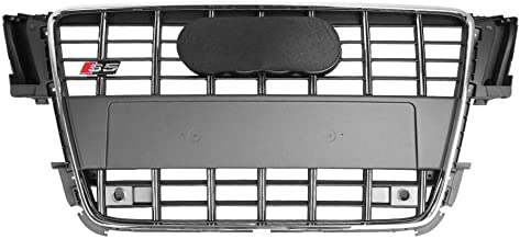 Qii lu For S5 Style Front Bumper Mesh Hood Grill, ABS Grille Chrome Gray for Audi A5/S5 B8 2008-2012