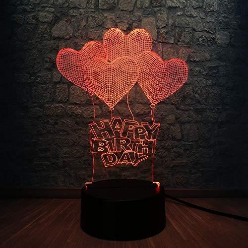 3D IllusionslampeRomantische Liebe Herz Ballon 3D LED USB Lampe Heiratsantrag Hochzeit Home Decoration Buntes Nachtlicht Geschenk Gadget