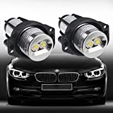 VANJING Compatible with 2PCS 6W 7000K BMW LED Angel Eyes Halo Light Bulb,3 Series ,03.2005-09.2008 E90(Sedan/Saloon),09.2005-09.2008 E91 (Touring)