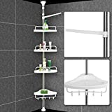 Deuba Estantería telescópica de Baño Ducha Blanco estantes de esquina ajustables 155 - 304 cm con estante toallero