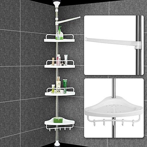 Deuba Scaffale angolare telescopico da bagno regolabile in altezza 155-304 cm 4 ripiani argentato mensola doccia portasapone