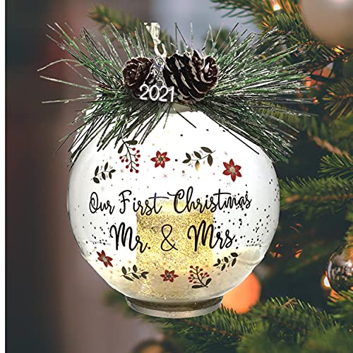 Our First Christmas LED Married Mr. and Mrs. Dated 2021 - Lighted Glass Ball Ornament with Pine Cones and Greenery - Snow Filled Bulb with a Silver Glitter Votive Candle Inside - 4-hour timer Included