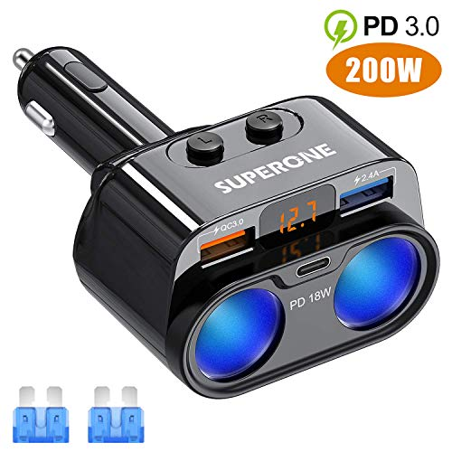 SUPERONE 200W 2-Socket Cigarette Lighter Splitter Power Adapter, USB C Car Charger with 18W Power Delivery 3.0 & Quick Charge 3.0 for iPhone 11/11 Pro/X/8/7, Samsung, Google Pixel and More
