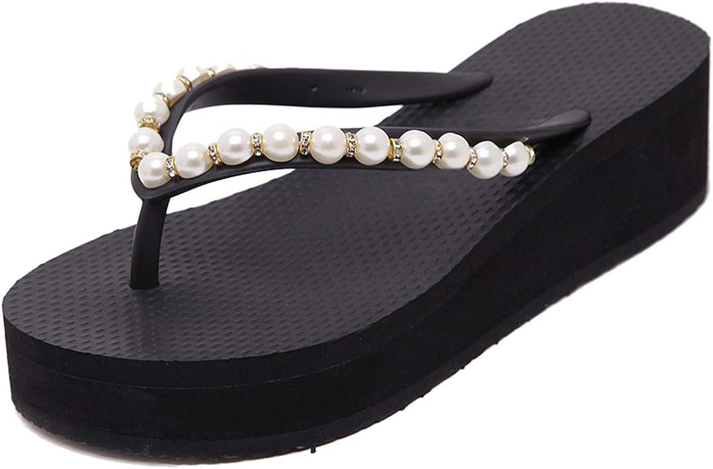 Drew Toby Women Wedge Flip Flops Chunky High Platform Pearl T-Strap Summer Beach Sandals