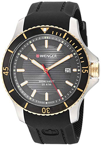 Wenger Men's Seaforce Stainless Steel Swiss-Quartz Silicone Strap, Black, 22 Casual Watch (Model: 01.0641.126)