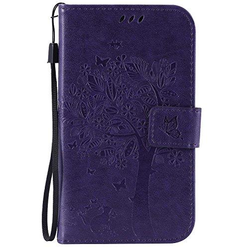 Guran® PU Leder Tasche Etui für Samsung Galaxy Grand Neo Plus/Grand Neo (i9060) Smartphone Flip Cover Stand Hülle & Karte Slot Hülle-lila