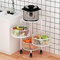 キッチン収納ラック野菜ラック3/4/5ティアキッチン回転野菜シェルフローリングカートフロアスタンド多機能オーガナイザートロリーシェルフ (Color : A-white, Size : 3Tier)